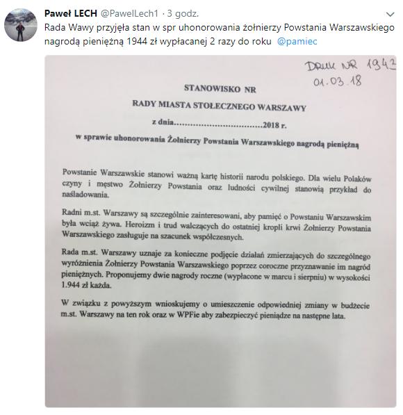 Uhonorowanie Żołnierzy Powstania Warszawskiego nagrodą pieniężną